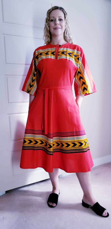 Early - Mid 1970s Navajo / Southwest Motif Dress