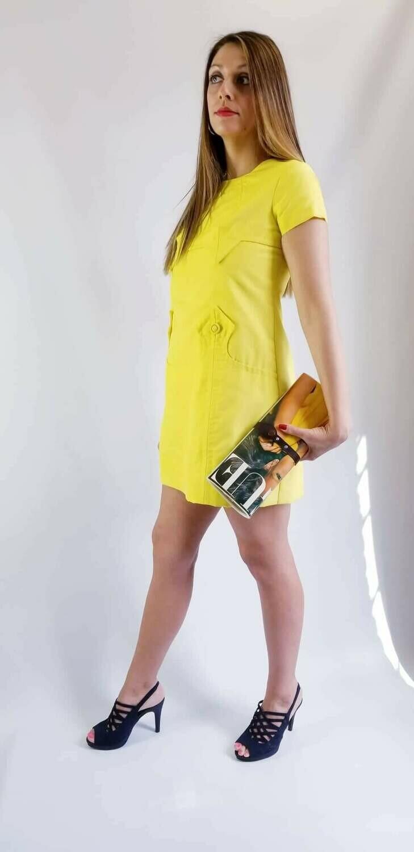 Iconic 1960s Yellow Mini Skirt Dress