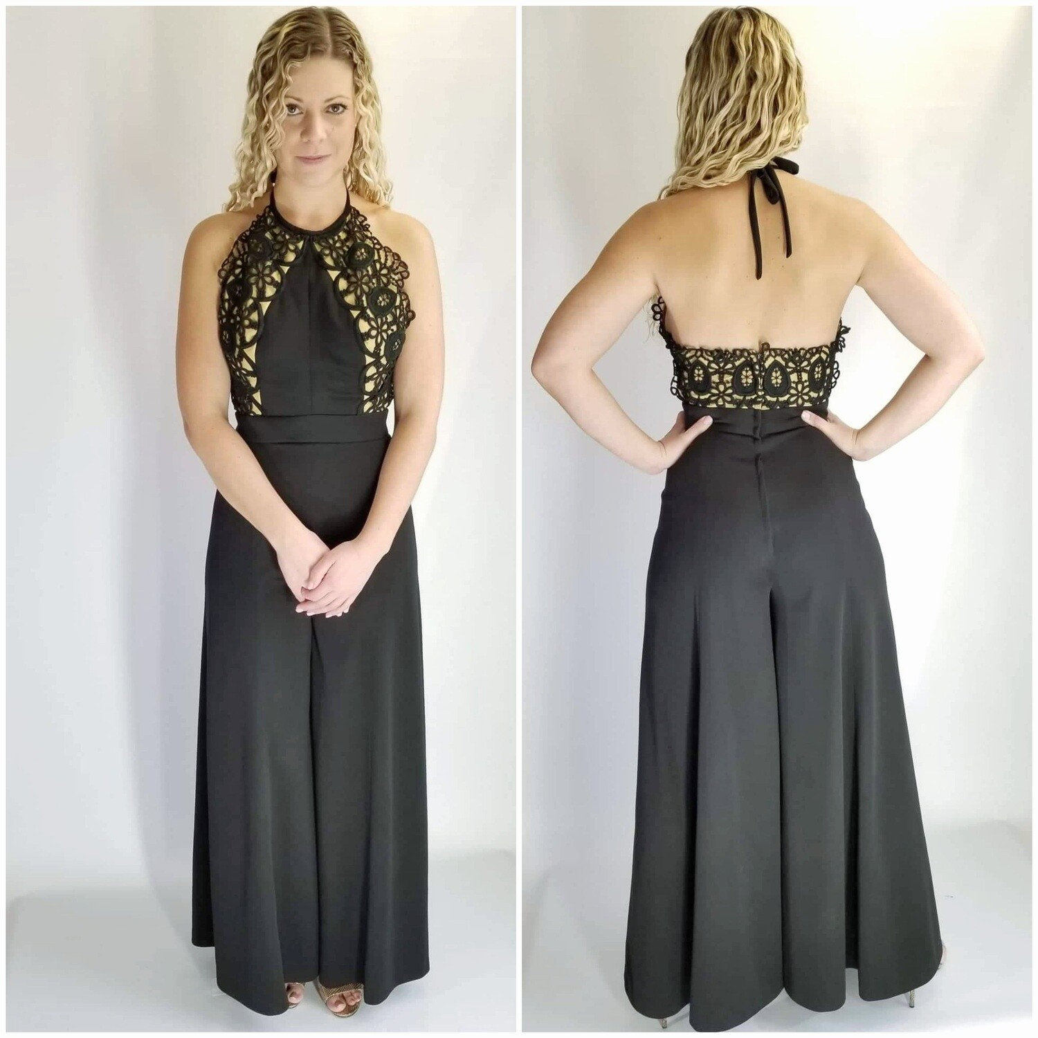 Early - Mid 1970s Dramatic Nude Illusion JumpSuit