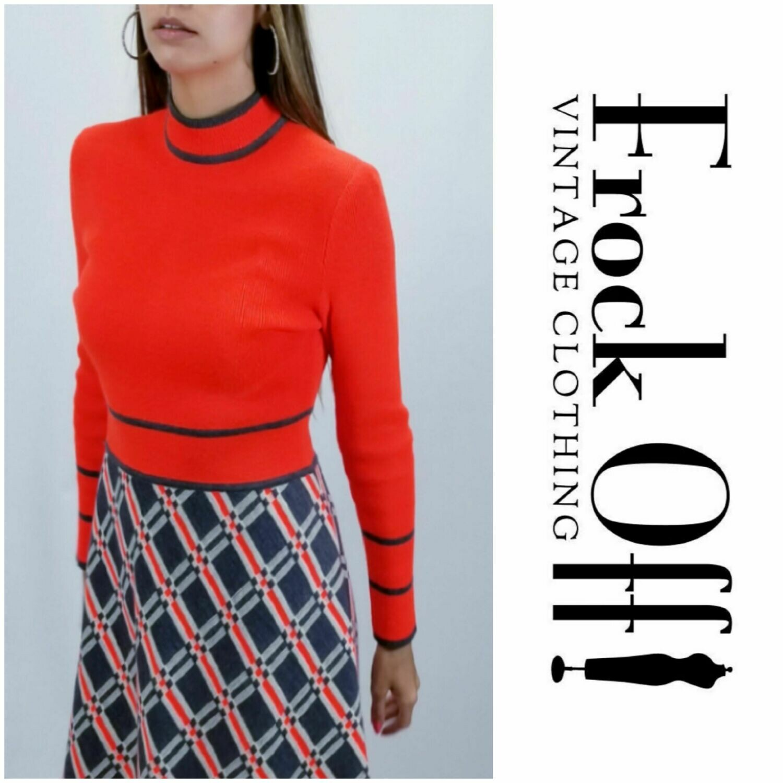 Mid 1960s - Early 1970s MOD Neon Knit Dress