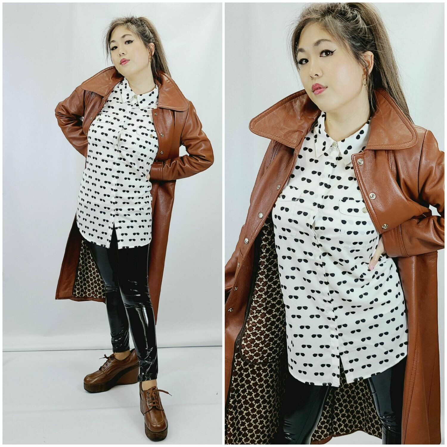 Late  1960s - Early 1970s Carmel Snap Button Leather Coat