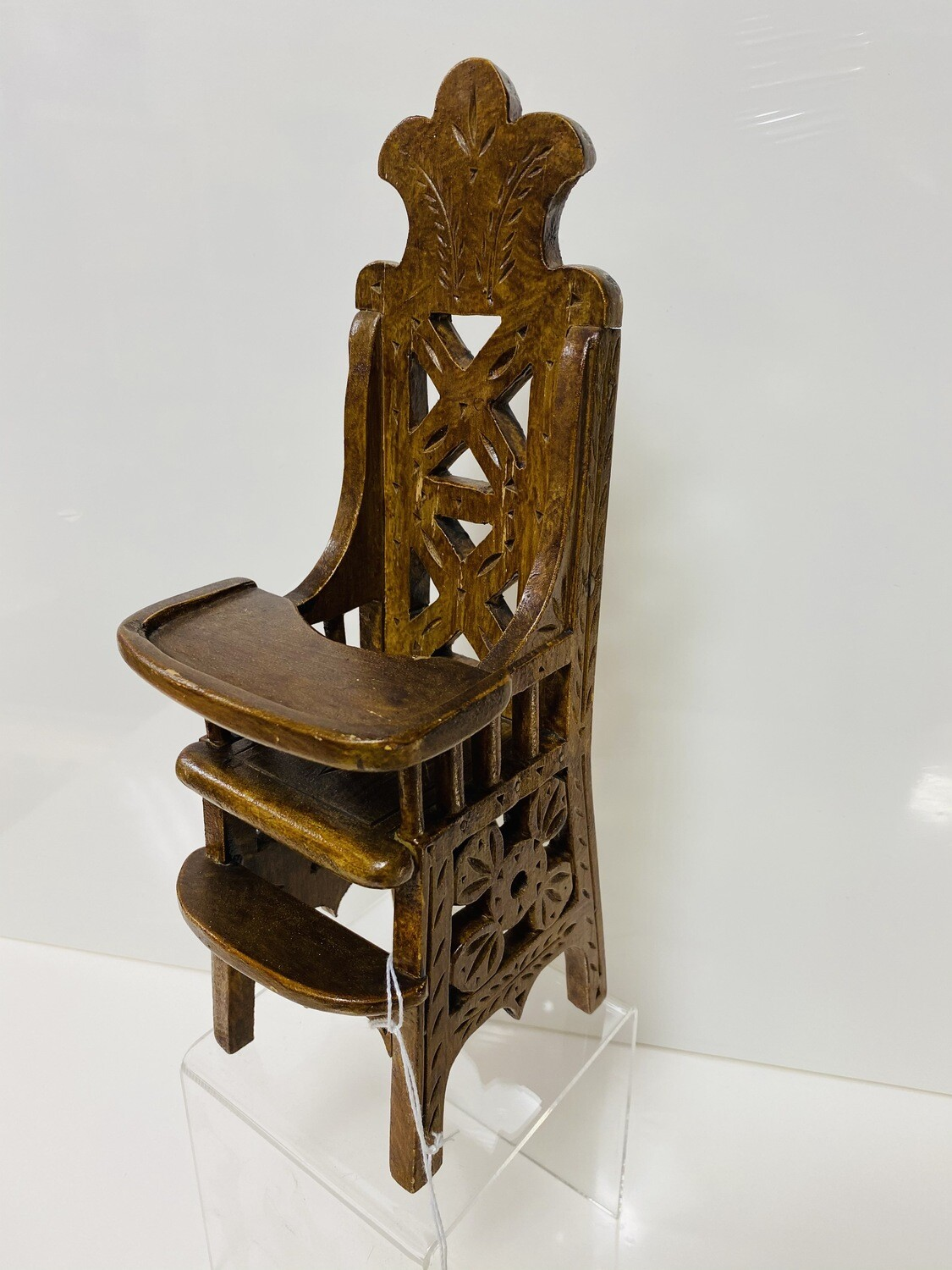 Carved Miniature High Chair Dated 1922 -  Booth V94