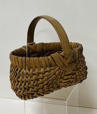 Antique Primitive Splint Wood Small Buttocks Basket - Booth V94