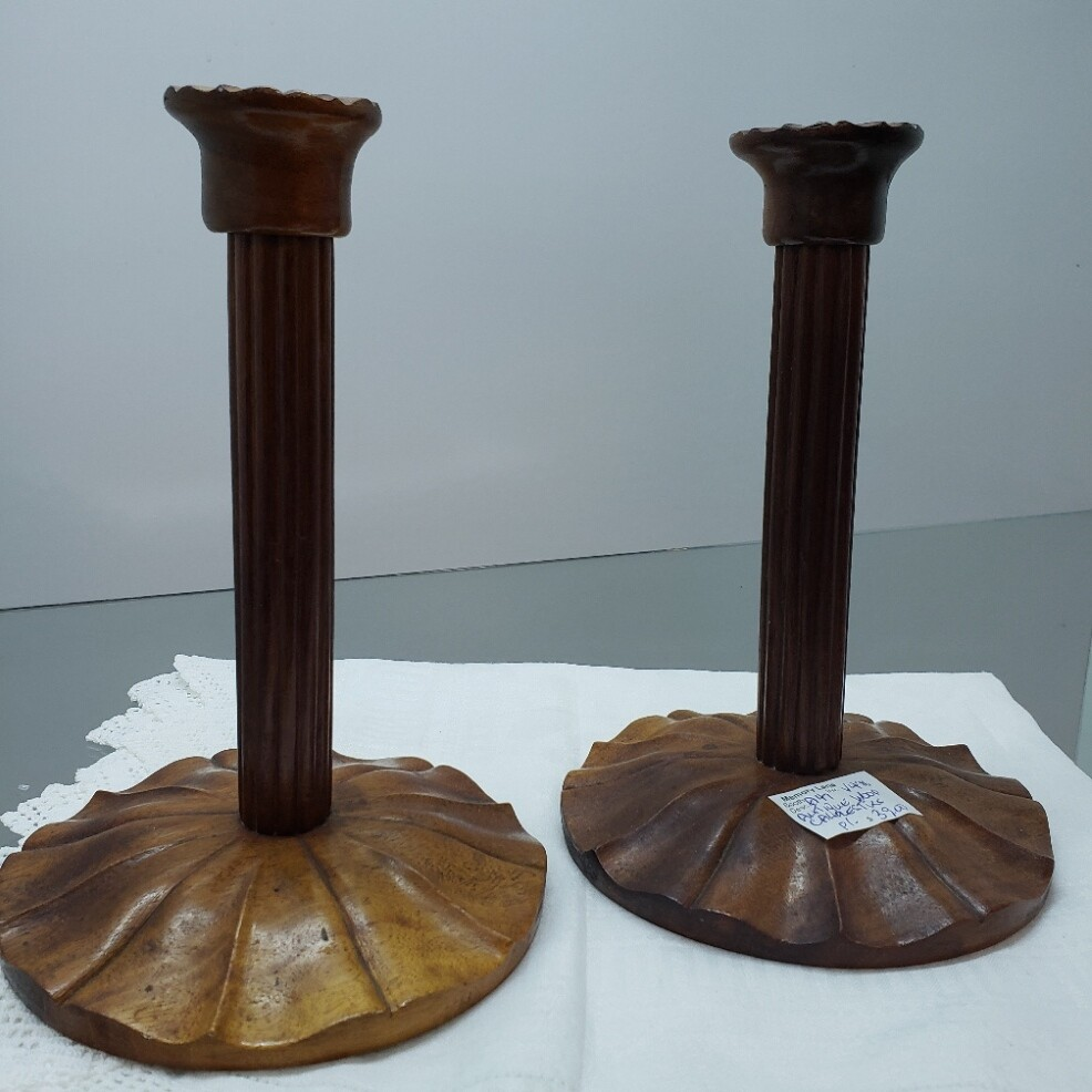 Antique Pair of Wooden Candlesticks - Booth A47