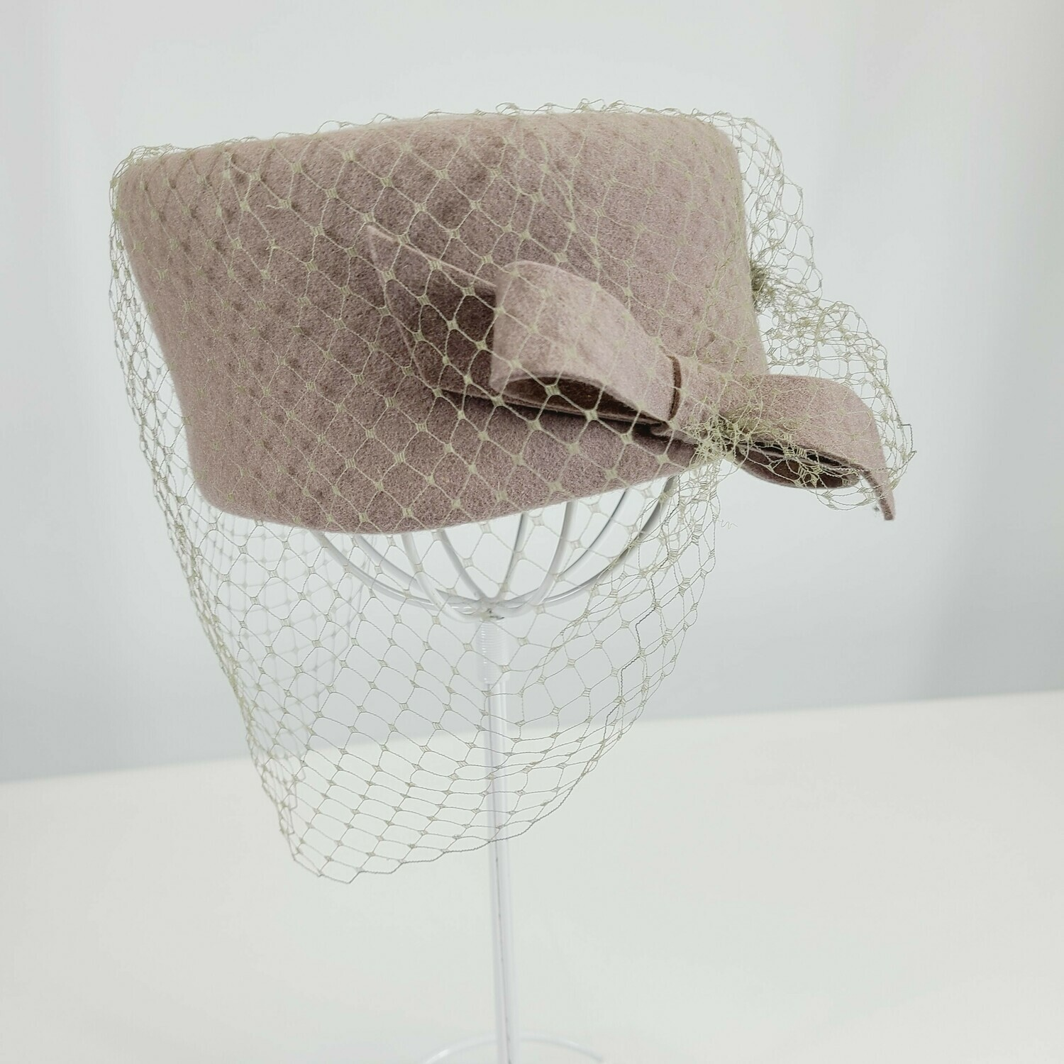 1980S does 1940s - Lady Diana Pill Box - Veil Hat