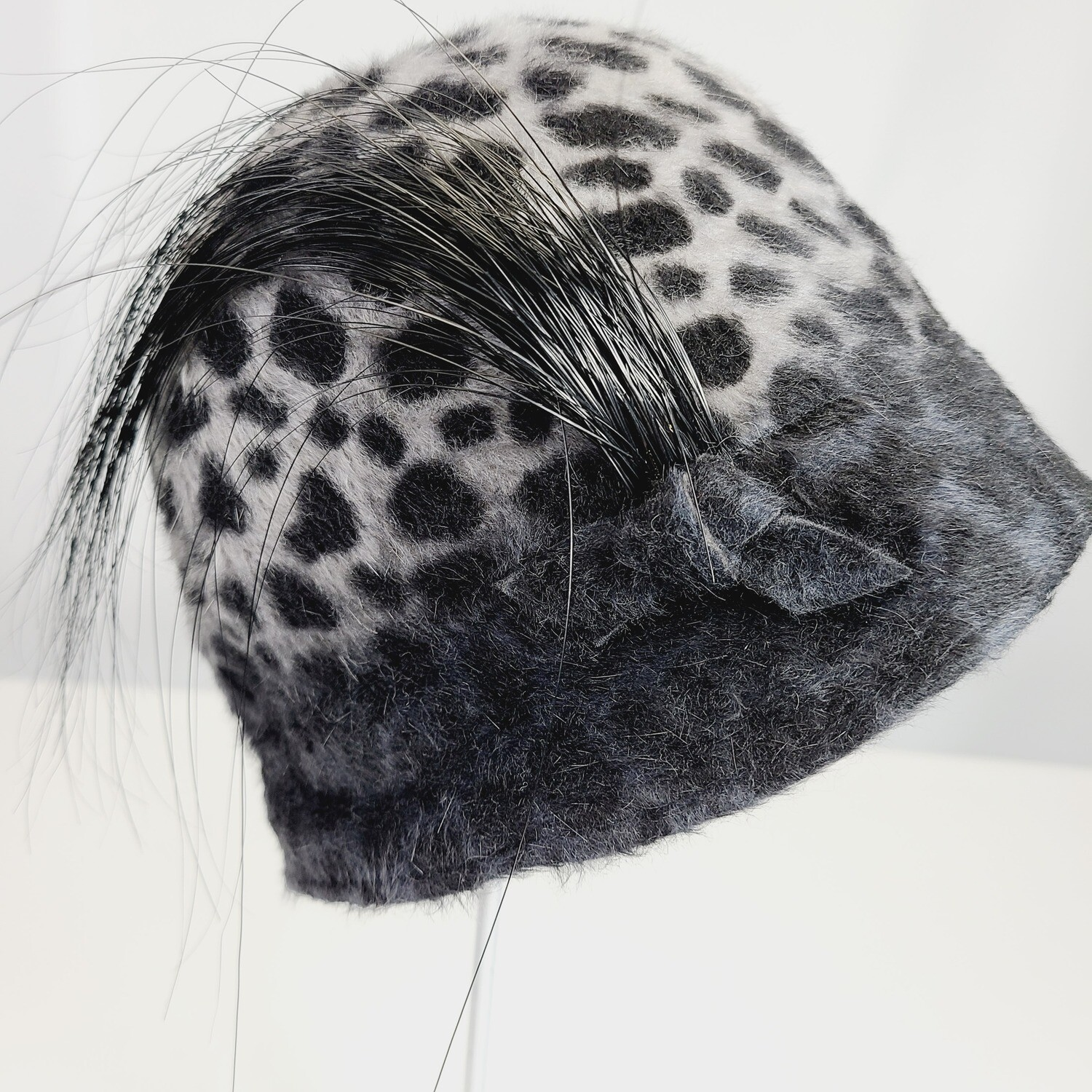 Lilliput Hat - Ombre Grey Snow Leopard Cloche Style Hat