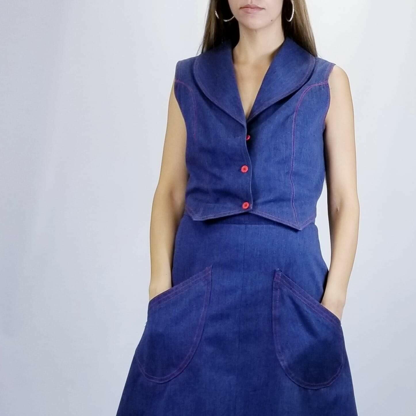 Early 1970s  Deep Denim 2pc Vest & Skirt