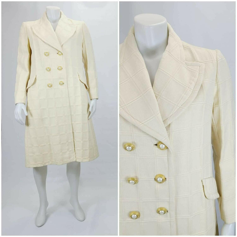 Late 1960s- Early 1970s Winter White Window Pane Coat
