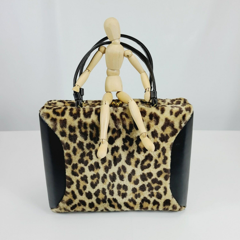 1950s Classic Faux Leopard Box Purse