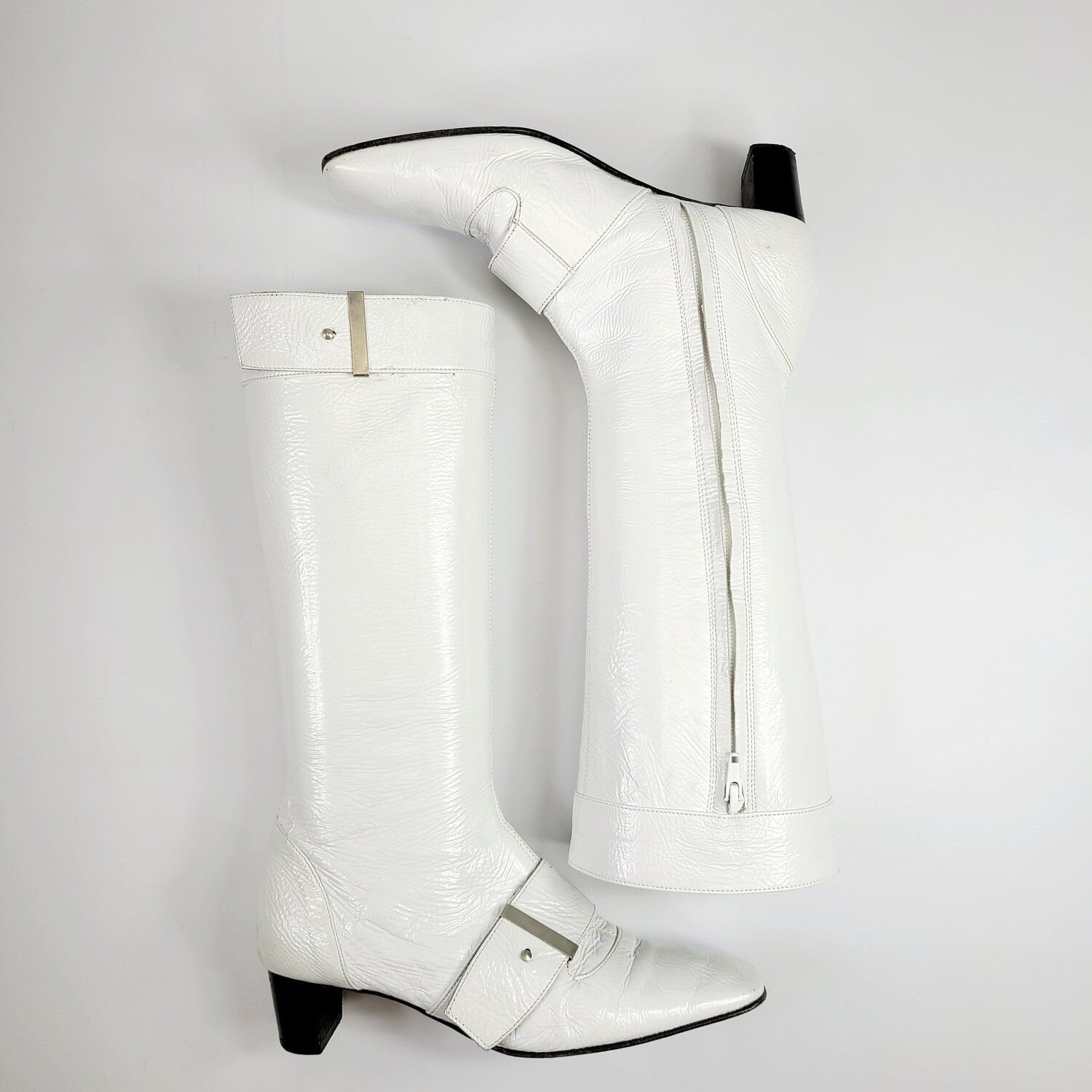 1960s White Leather Go - Go Boots