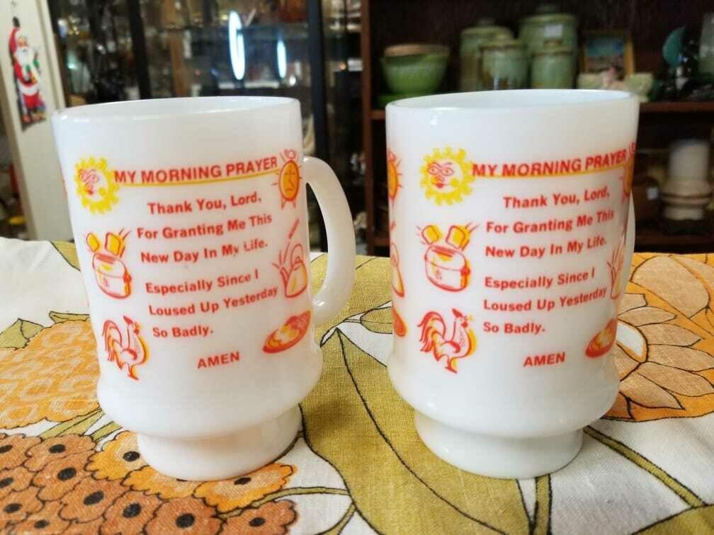 Retro Prayer Mug Set of 2 Coffee Cups - D53