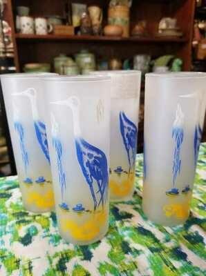 Blue Heron set of 4 Collins glasses - D53