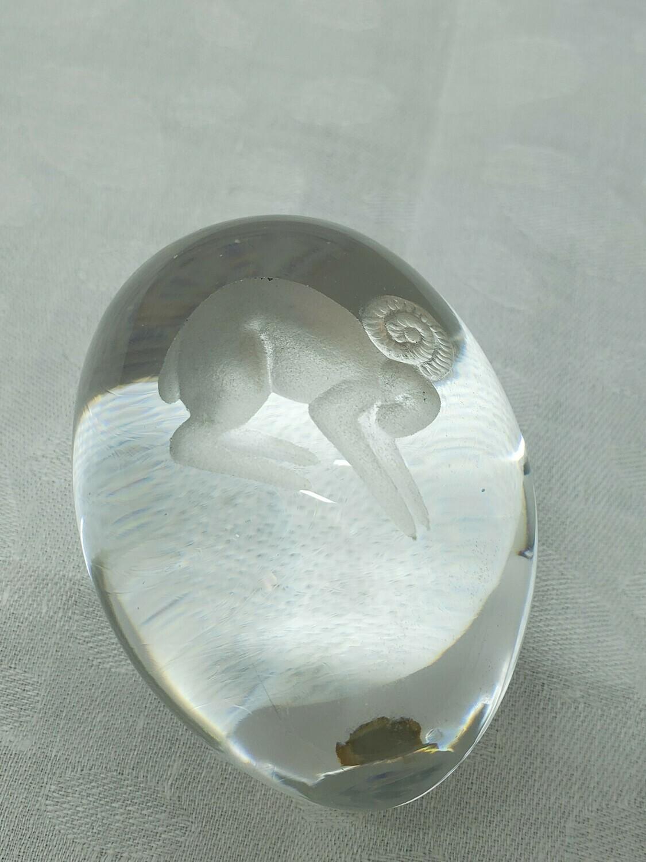 Swedish Paperweight - B34 - Zodiac Aries Ekenas crystal