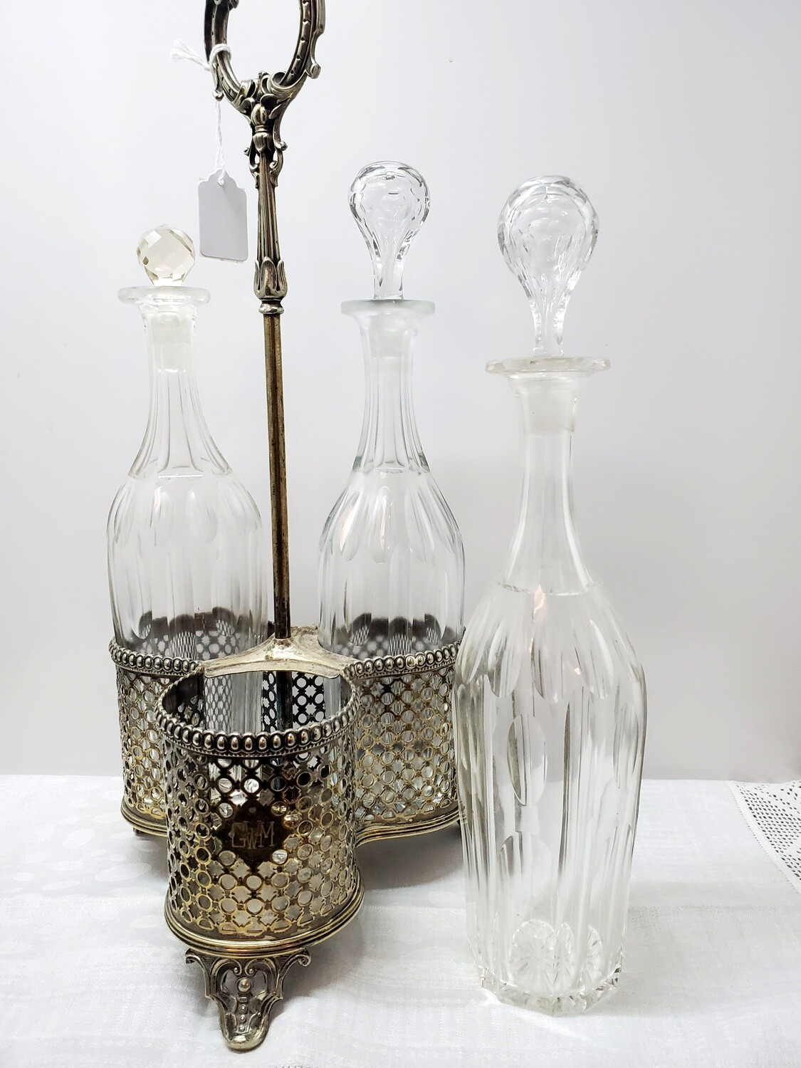 Crystal Decanter set - 3 decanters in Silver plate carrier - B34