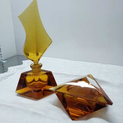 Crystal Amber 4 Pc Boudoir set - perfume bottle and cosmetic box