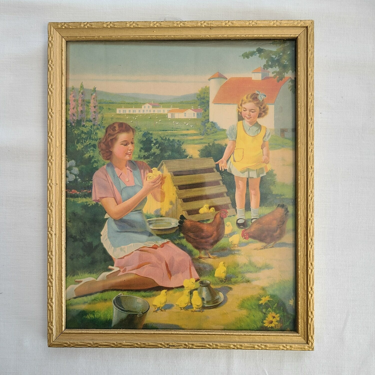 Late 1940s - Early 1950s Framed LithoGraph