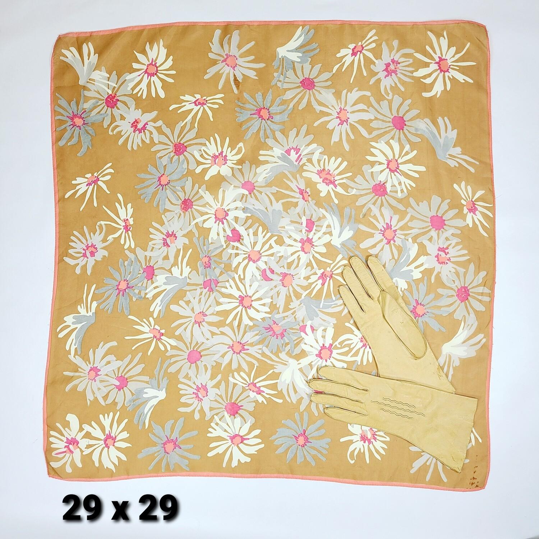 Tissue Silk Scarf & Leather Gloves