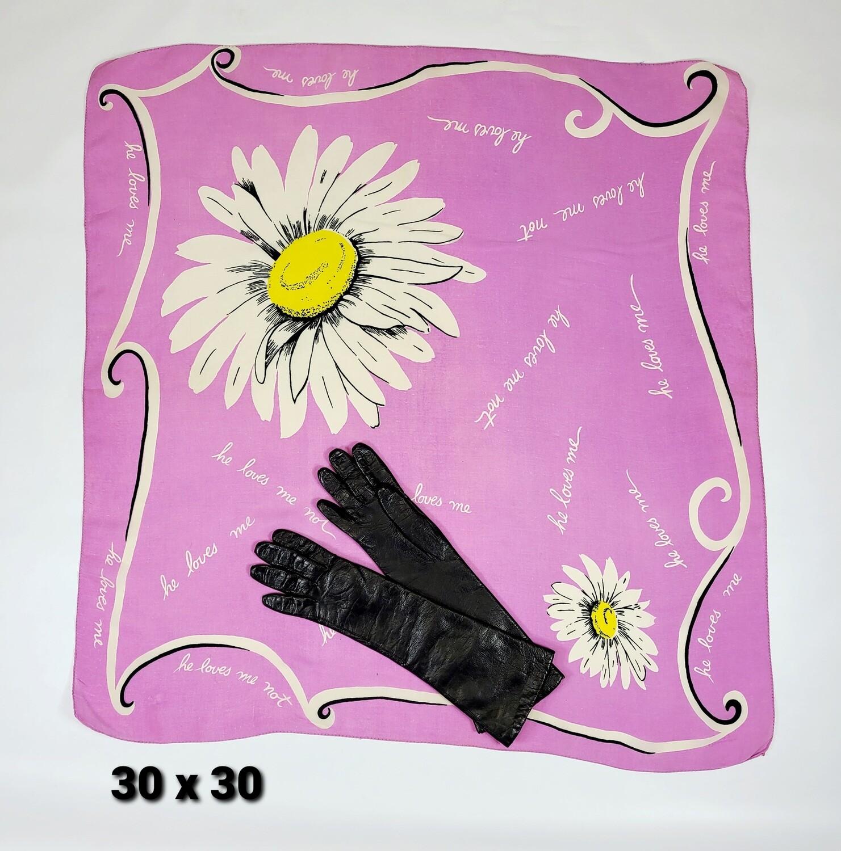 Silk Novelty Daisy Scarf & Leather Gloves