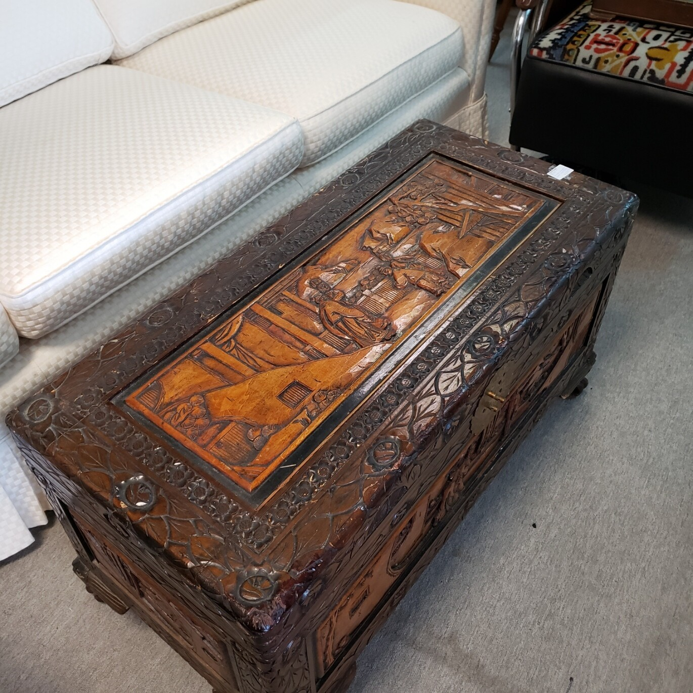 Camphor Chest with ornate carvings