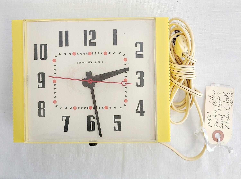 1950s Sunshine Yellow Plastic Kitchen Clock