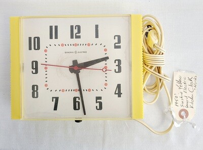 1950s Sunshine Yellow Plastic Kitchen Clock