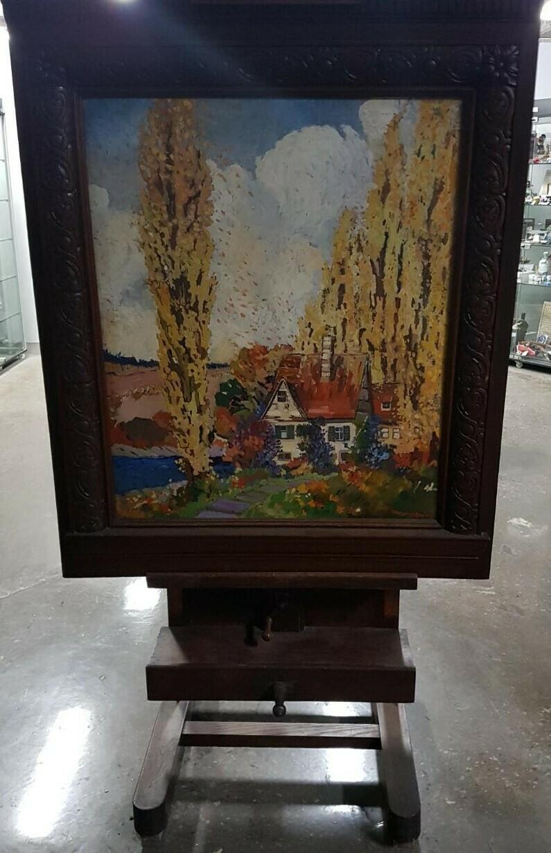Antique Oil Painting on Glass - Fletcher H. Carpenter