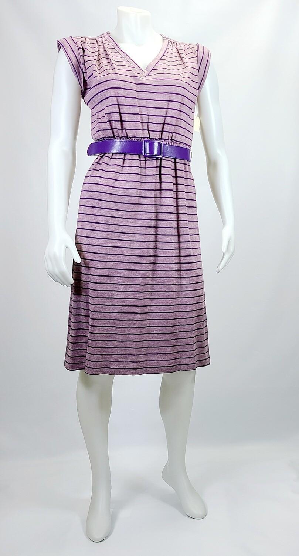 1970s Knit Purple Shift Dress