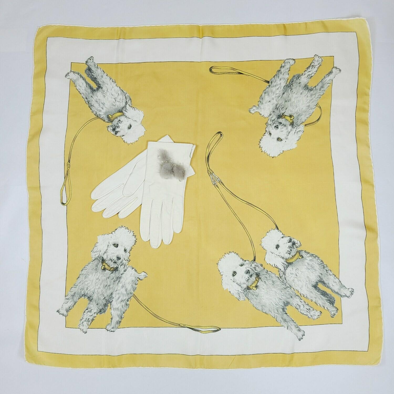 Silk Poodle Print Scarf & Poodle Brooch & Leather Gloves