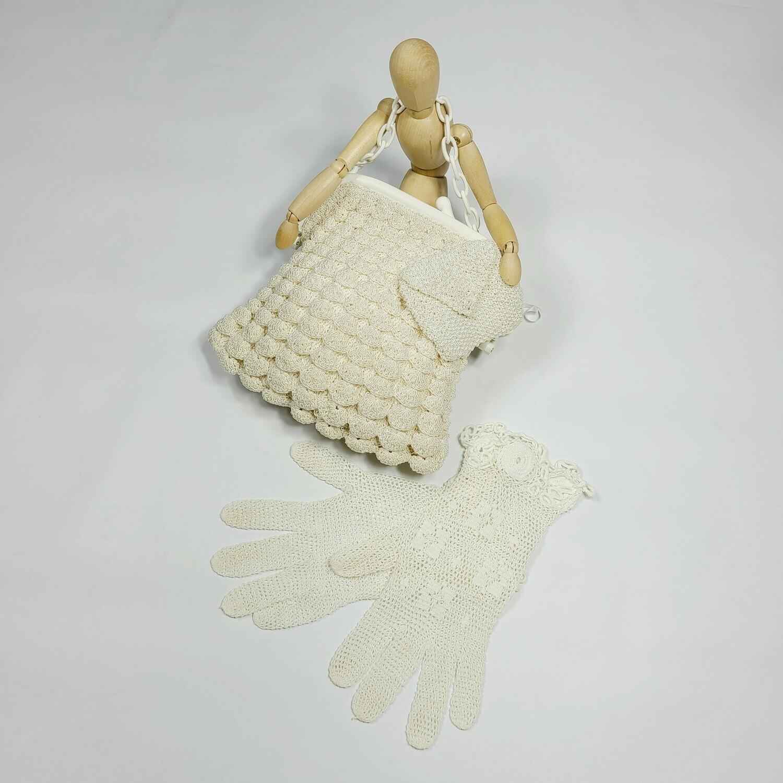 1940S Celluloid & Crochet Purse & Gloves Set