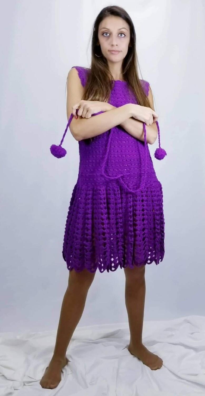 1960s MOD - BoHo  Drop Waist Knit Amethyst Dress