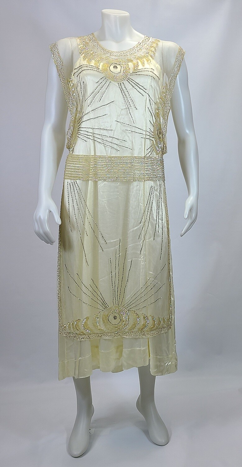 1920s Ethereal Sequin & Bead Overlay Tunic Flapper Dress