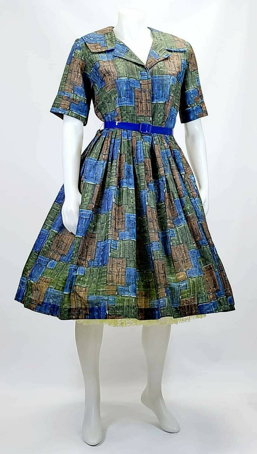 Late 1950s- Early 1960s Brutalist Print Fold ln Pleated Day Dress - Modern Sizing
