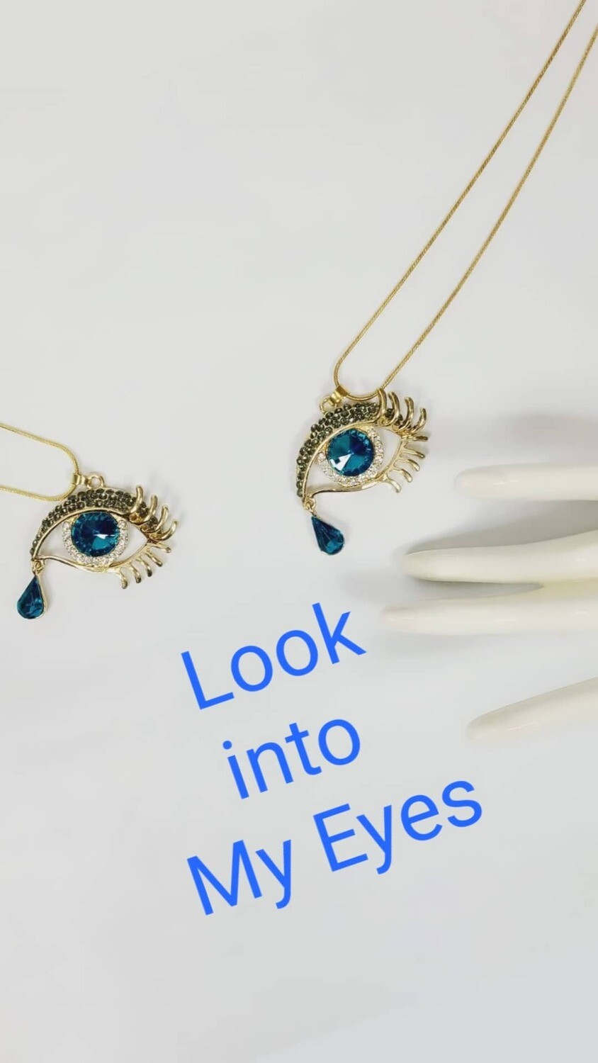 Eye / Teardrop Rhinestone and Gold Tone Necklace