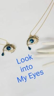 Eye / Teardrop Rhinestone and Gold Tone Necklace