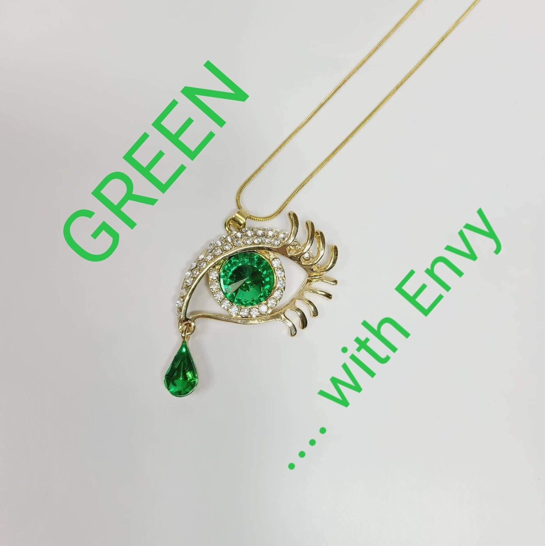 Eye/ Teardrop Rhinestone Pendant & Gold Tone Chain Necklace