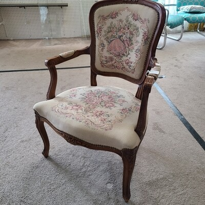 Antique Ornate Armchair, Brocad Fabric
