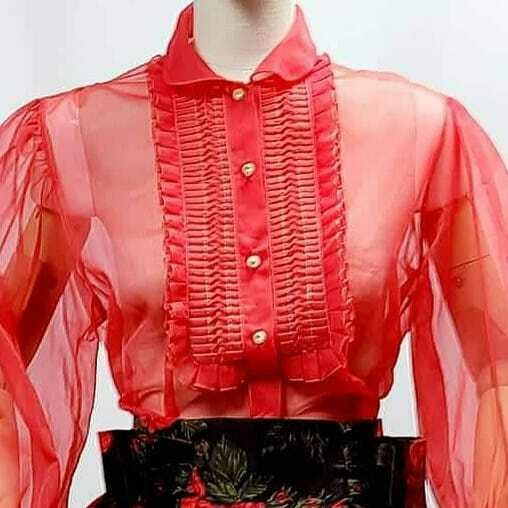 Early - Mid 1950s Red Sheer Blouse