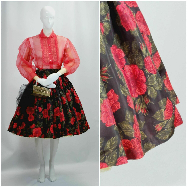 Mid - Late 1950s Poppy Print Full Skirt