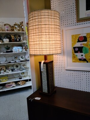 Rosewood and Tile Table Lamp