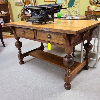 Solid Tiger Oak Library Table