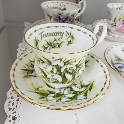 ROYAL ALBERT Tea cups of the Month - Full Set - Rare