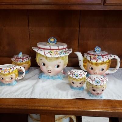 Lefton Miss Dainty Teapot - Cookie Jar - Tea Pot - Cream and Sugar - A92