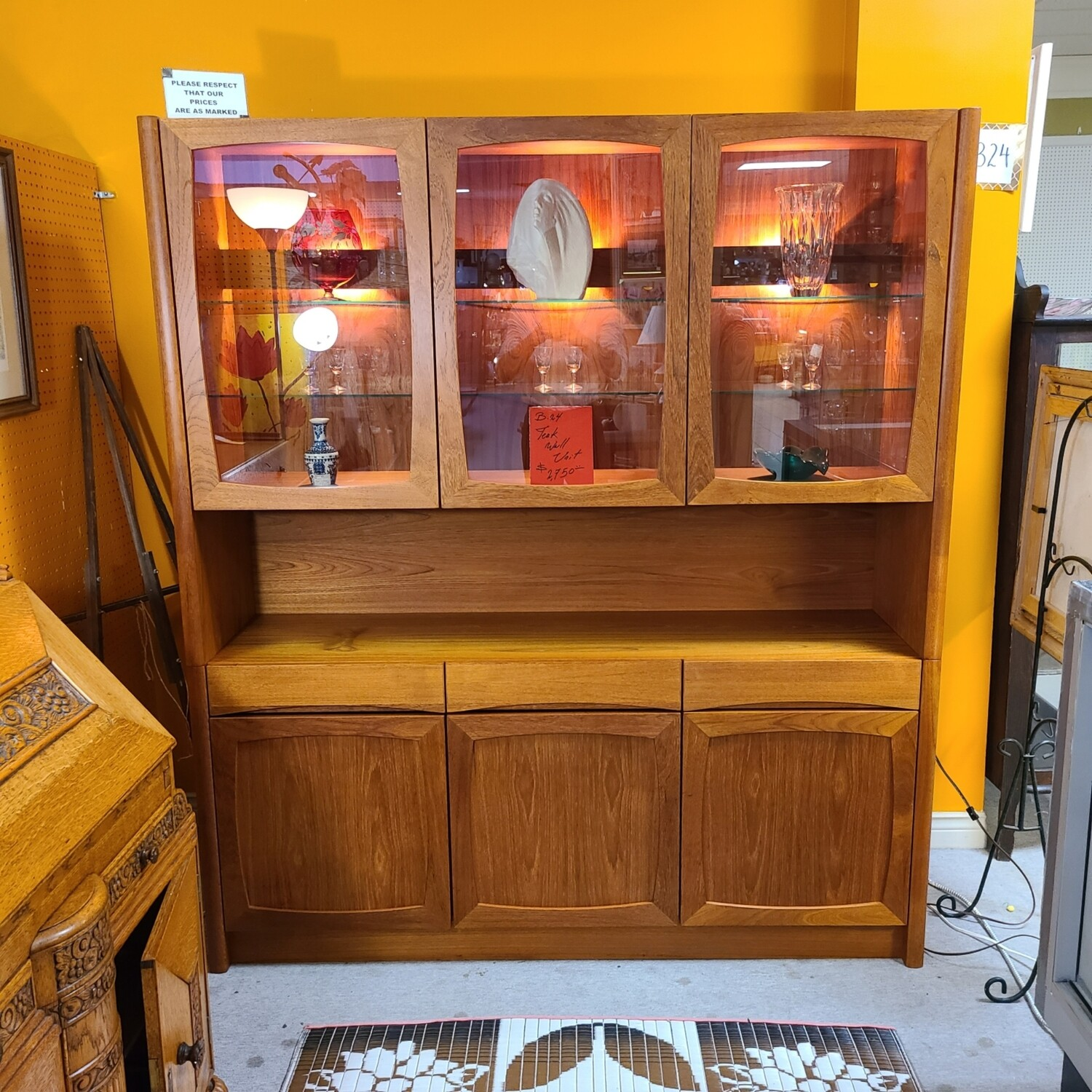 Gorgeous Large Teak Wall Unit