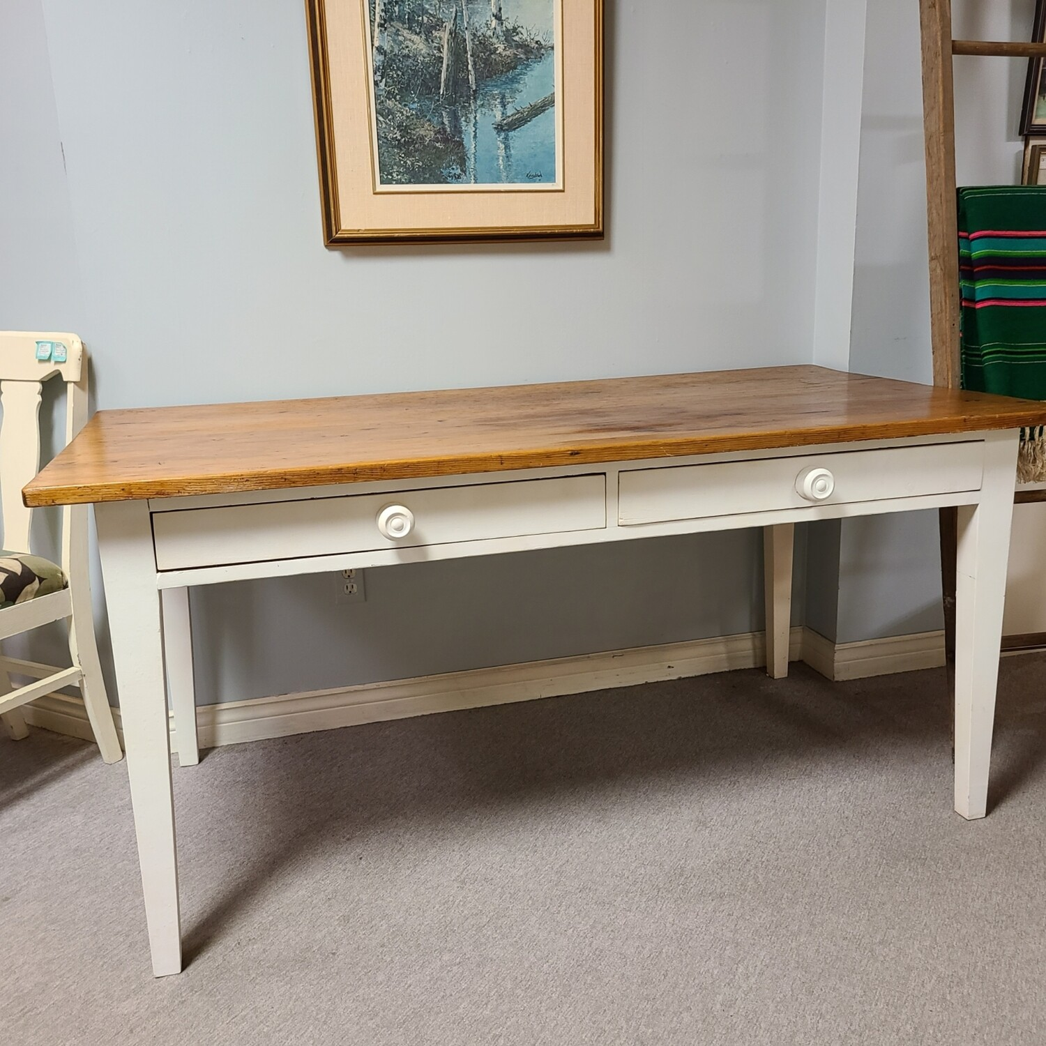 Pine Top Harvest Table with Large Drawers