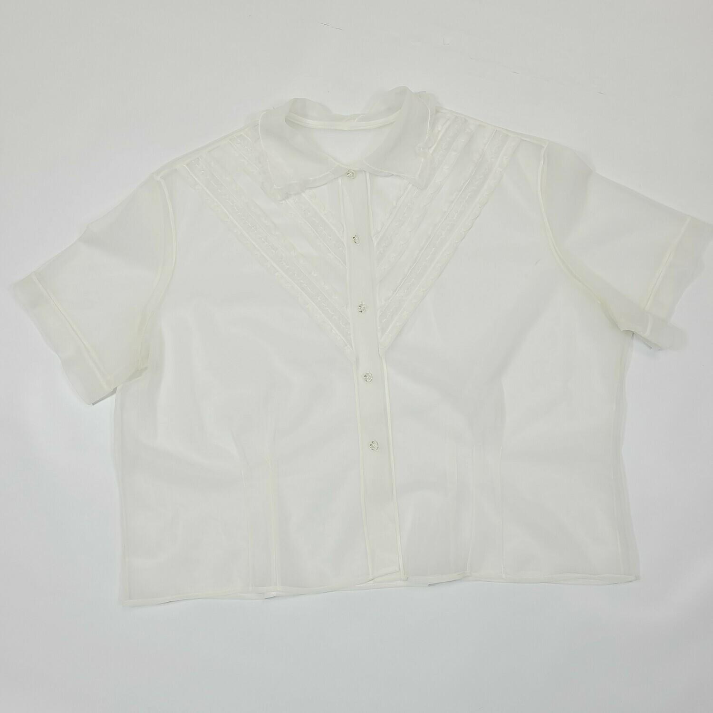 1950s Sheer Nylon Winter White Short Sleeve Blouse