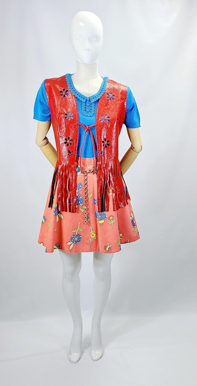 Early 70s Prairie Gardener Print Denim Miniskirt