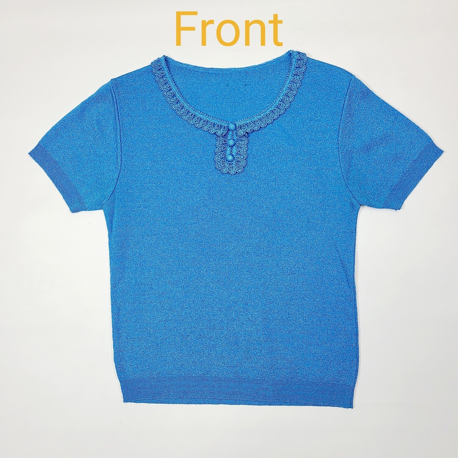 Early- Mid 1960s Azure Blue Knit Top
