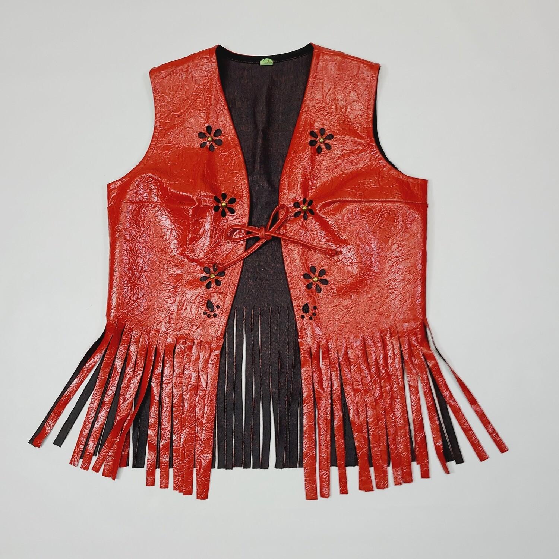 1960s Red Vinyl Fringe Vest