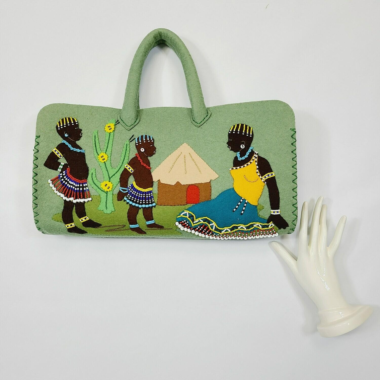 Late 1940s- Mid 1950s Moss Green Felt Tribal Scene Hand- Beaded Purse