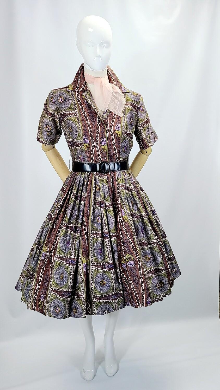 Algo Original 1950s Print Cotton Dress